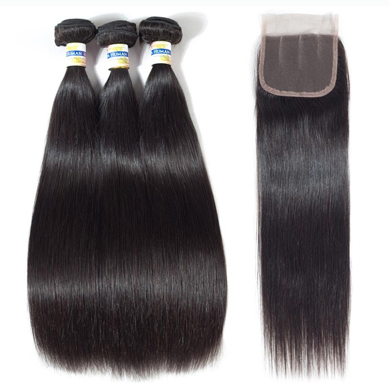 Bright Clover Leaf 613 Blonde Brazilian Straight Hair 3 Bundles With 13x4 Lace Frontal Closure Remy Human Hair For Hair Extensions Salon Bundle Pack