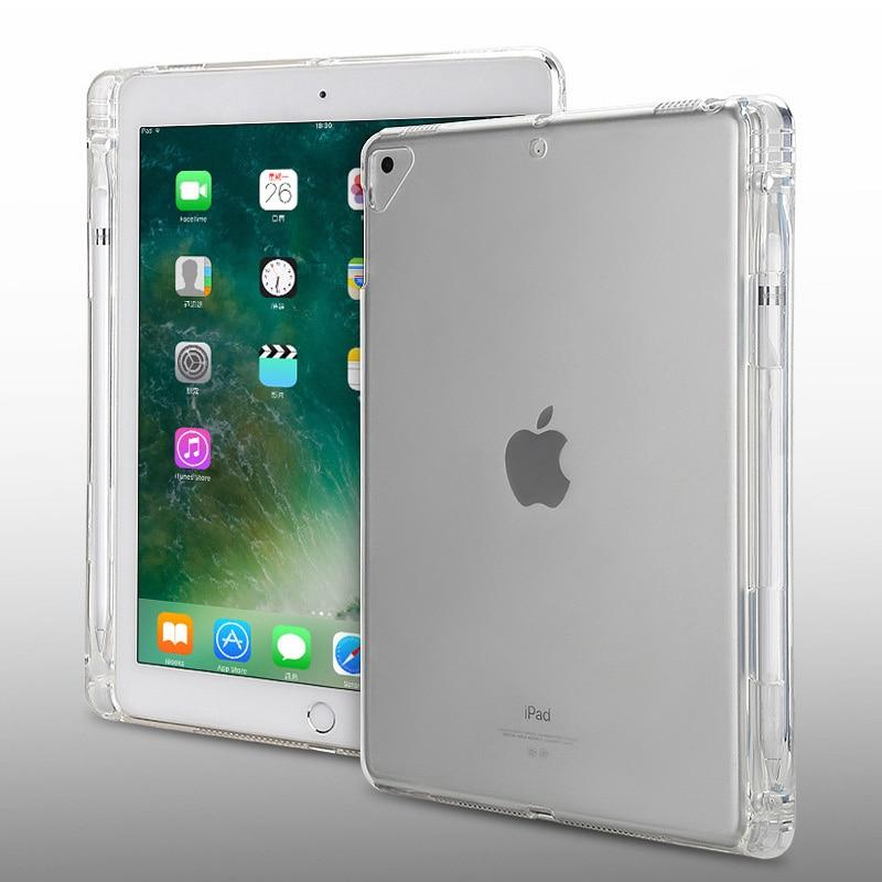 Caso para ipad pro 12.9 2015 2017 transparente de cristal tpu macio com caneta titular caso para ipad pro 12.9 polegada 2018 volta capa