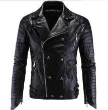 New Motorcycle Jacket Fashion PU Moto Leather Jackets Mens Faux Slim Fit Coats Skull Black