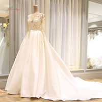 Dream Angel Vestido De Noiva Long Sleeve Vintage Wedding Dresses 2018 Sexy Appliques Chapel Train Matte