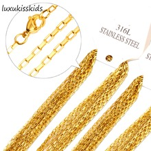 LUXUKISSKIDS 10pcs/lot 45cm-60cm Length 2mm crosschain stainless steel necklace fashion welding chain sweater chain lady jewelry