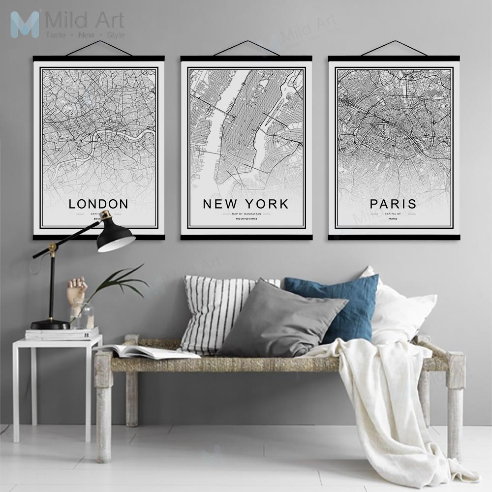 Black White Moscow Paris Berlin World City Map Wooden