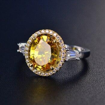 80dd7636d3dc SINZRY 2018 accesorios de joyería de moda amarillo Oval CZ anillo brillante  cubic zirconia cristal señora vintage anillos de dedo