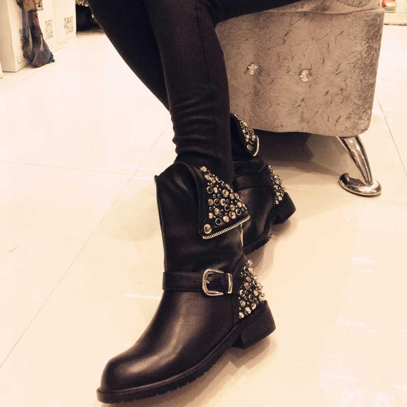 Frauen Aus Echtem Leder stiefeletten große größe fit für 22-28cm länge füße Herbst und winter warm martin stiefel Kurze plüsch futter