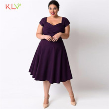 Dress Women 2017 Fashion Plus Size Women Casual Short Sleeve Formal Cocktail Solid Swing Dress Purple 17SEP21