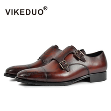 2017 font b Vikeduo b font Hot Vintage Men s Monk Shoes Custom Made Laser 100