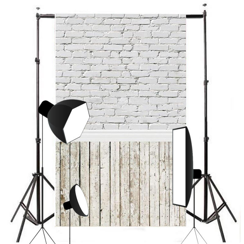 Mayitr 1pc White Brick Wall Photography Backdrop Cloth High Quality Wooden Floor Photo Background Props 1.5 x 3m