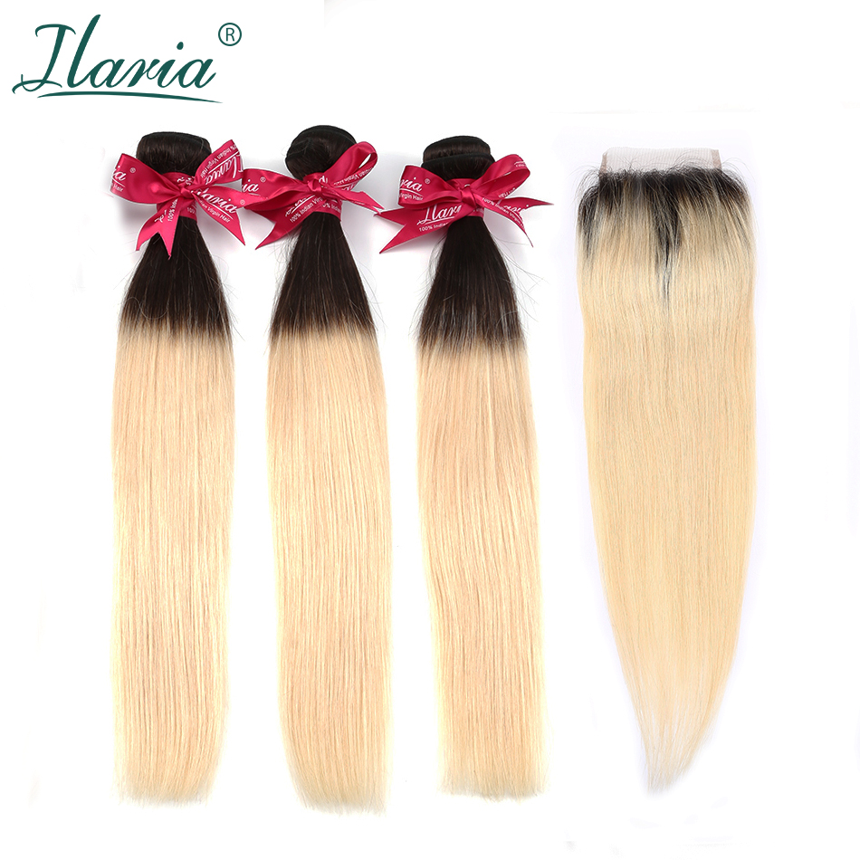 ILARIA 1B 613 Blonde Hair Brazilian Straight Remy Hair 3 Bundles With Lace Closure 2 Tone Root Blonde Ombre Bundle With Closure