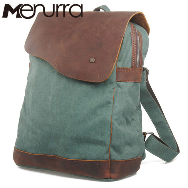 Vintage Fashion Backpack Leather military Canvas backpack Men backpack  women school backpack school bag bagpack rucksack 9eff34a02912b