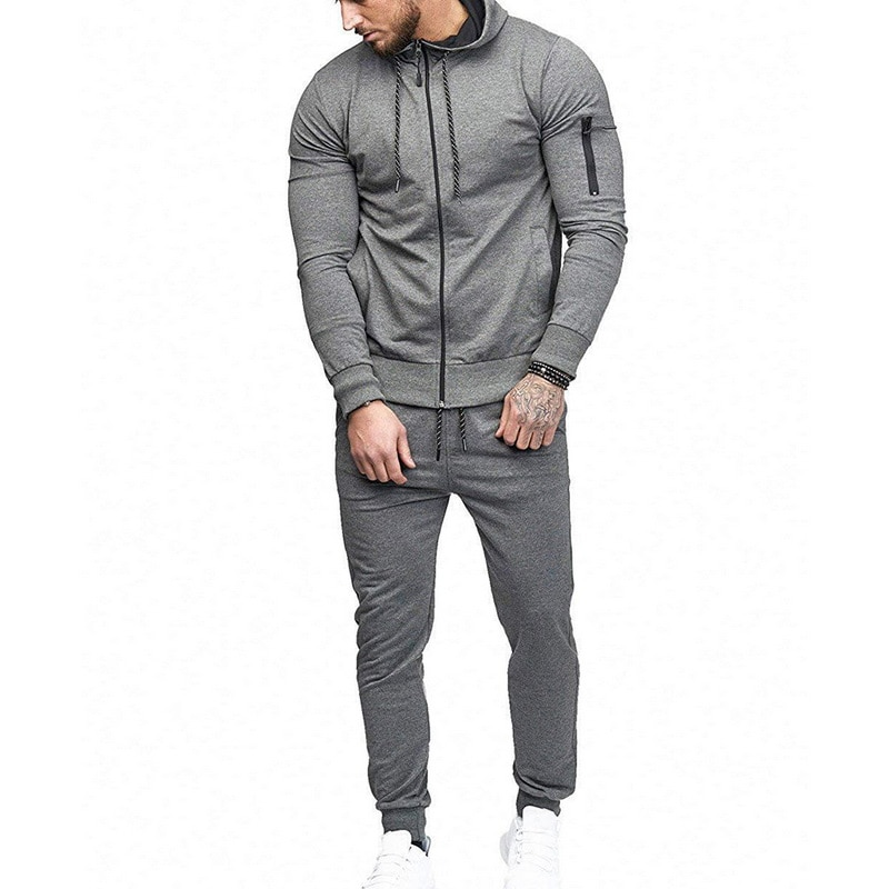 HTB1ZQy6asTxK1Rjy0Fgq6yovpXai HEFLASHOR Men Drawstring Sportwear Set Fashion Solid Sweatshirt&Pants Tracksuit Casual Zipper Hoodies Outwear Clothes 2019