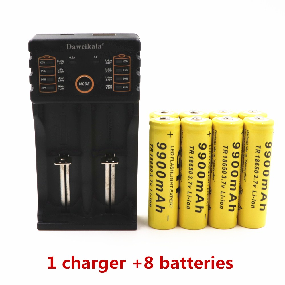 Daweikala Brand battery 18650 3.7 V 9900 MAH Li ion rechargeable battery 18650 batery +1pcs 18650 battery charger intelligent