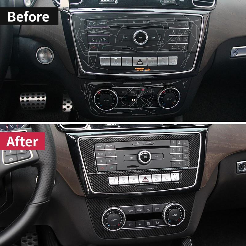 CD paneli çıkartmalar klima anahtarı paneli ayar kapağı Mercedes Benz GLE W166 GLE Coupe C292 GLS sınıfı amg aksesuarları