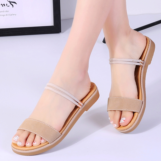 09393b31c YZHYXS flat sandals for women 2018 summer suede cow leather slip on ladies  sandal walking shoes casual fashion beach slippers