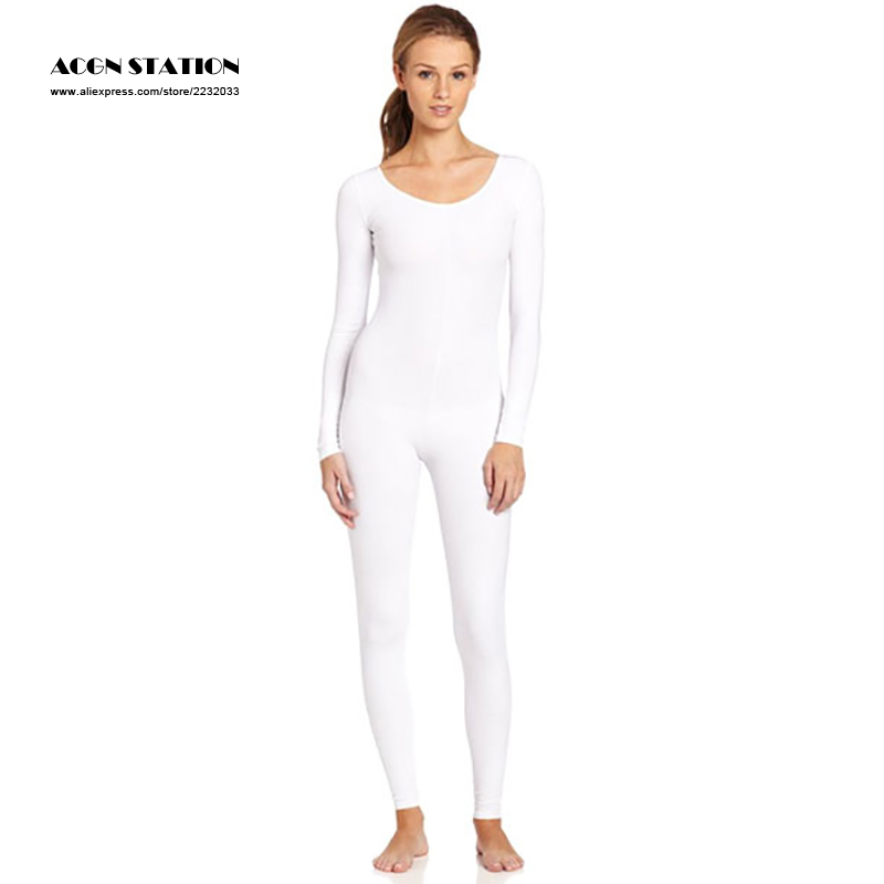 24hours 2018 New White Zentai Slim Fit Trendy Spandex Jumpsuit for Women Rush order/Same day shipping/24-hour ship-out service