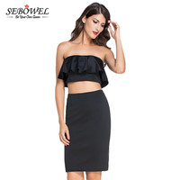 SEBOWEL 2017 Party Dress Ruffles Off Shoulder Strapless Midi Dress Two Piece Sets White Sexy Club