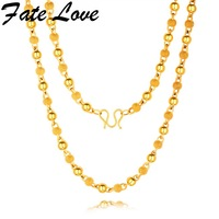Fate Love Charm Bead Necklace Copper Sparkling Luxury Accessories Gothic Necklaces For Men Jewelry Gift, Gold Color FL694