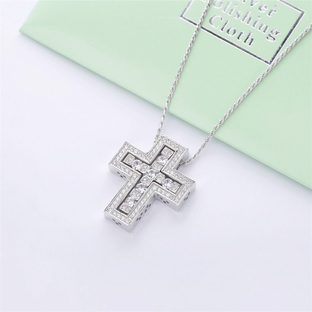 Image 2 - Slovecabin Hole Cross Double D Letter Chain Belle Epoque Zircon  Pendant Necklace Jewelry 100% 925 Sterling Silver Italy LuxulryChain  Necklaces