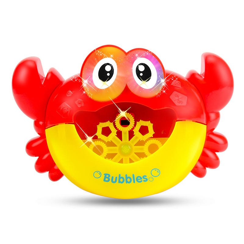 Kids Cute Cartoon Crab Automatic Bubble Maker Lightly Machine Outdoor Blowing Soap Bubbles Fun Play Toys Voice Changer