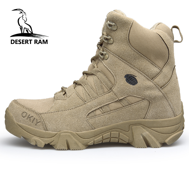 DESERT RAM Brand Men's Boots Military boot Tactical Safety Combat Mens Chukka Ankle Bot Motocycle Boots Big Size Army Male Shoes