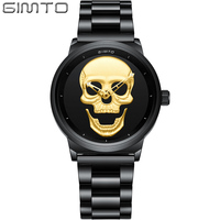 GIMTO Punk 3D Skull Women Watches Gold Luxury Clock Steel Quartz Ladies Watch Waterproof Vintage Skeleton Wristwatch Relogio