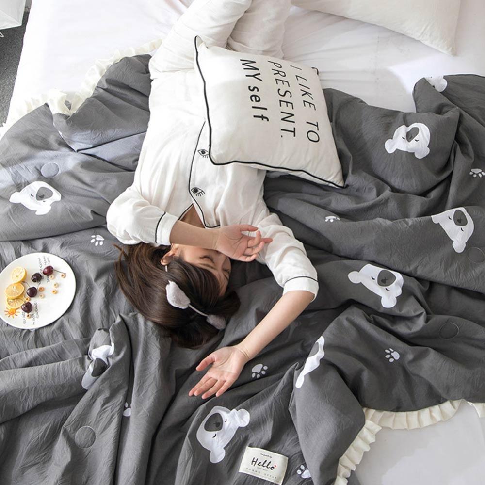 2019 Cartoon Grey Panda Quilting Summer Comforter Quilt Washed Polyester Fabric Ruffles Print Twin Queen Air Condition in Quilts from Home Garden