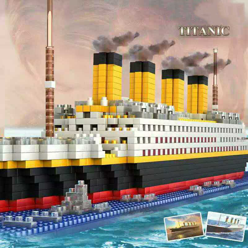 1860pcs Titanic Cruise Ship Microparticles Building Bricks Blocks Set 3D Boat Model Toys For Children Gift