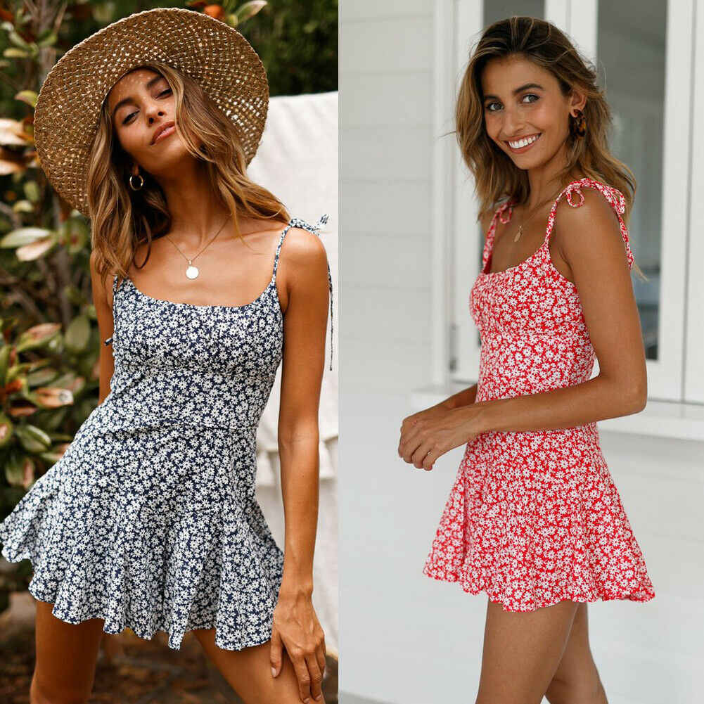 Women's Summer Flowers Print Mini Dress Vintage Boho Bohemian Dresses Beach Short Dress Ladies Summer Casual Sundress Holiday