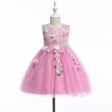 2019 New Kids Girl Summer Sleeveless Embroidery 3D Flower Princess Dress For Children Prom Gown Wedding Party Vestido 3-10 Years flowers white girl dress party ball gown flower girl vestido for wedding 2017 kids clothes of 3 4 6 8 10 12 14 years rkf174038