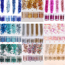 Nail Glitter Set 4Boxes Hexagon Sequins UV Gel Polish Decoration Mixed Color DIY 0.2mm, 1mm, 2mm, Gradient Powder