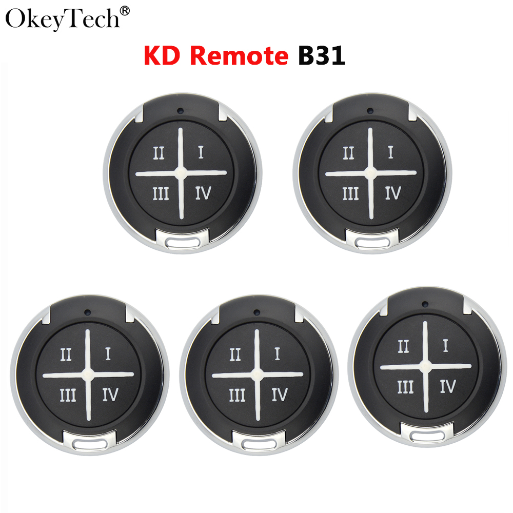 Okeytech 5 PCS/LOT B31 KD télécommande clé 4 boutons série B porte de Garage pour KD900 URG200 KD MINI KD-X2 programmeur clé diy B31-4