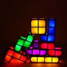 Diy tetris puzzle luz empilhável led night light bloco constructible lâmpada de mesa 7 cores novidade brinquedo presente das crianças