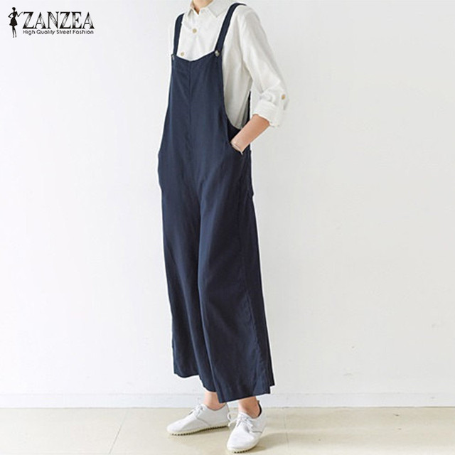 8f558b47f4e9 ZANZEA Rompers Women Jumpuits 2018 Casual Loose Sleeveless Backless Solid  Trousers Retro Strapless Playsuits Overalls Plus Size