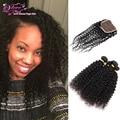 Brazilian Virgin Curl Hair With Closure 4 Bundle Brazilian Hair Weave Bundles With Closure Tight Curls Stema Hair With Closure