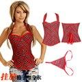 NEW red plaid hanging neck underbust Sexy lingerie Waist Workout Cincher Body Shaper Shapewear Corset S-XXL 0841 Women girl