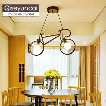 Qiseyuncai Industrial style iron art bicycle small chandelier Nordic simple creative art study bar bar club lighting