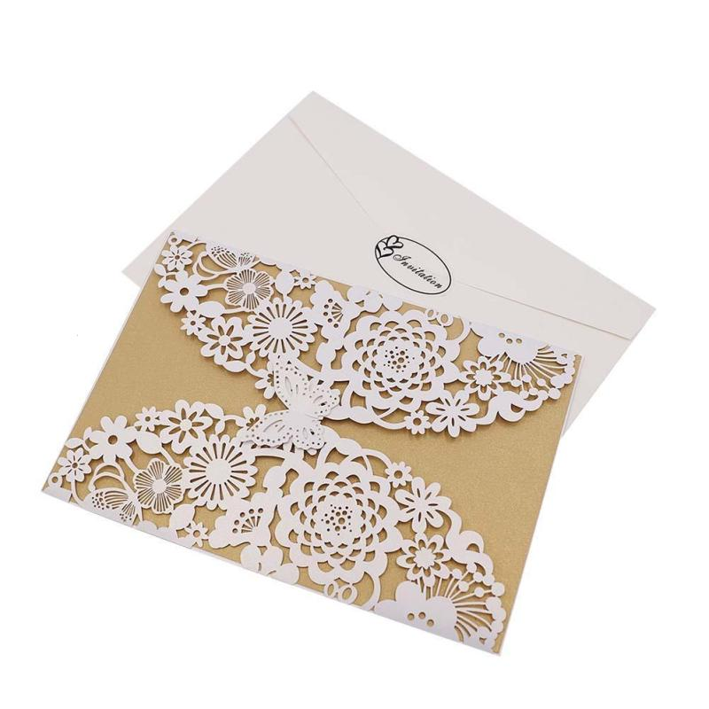 1Pc Laser Cut Butterfly Flower Invitations Cards Kits For Wedding Bridal Birthday Anniversary Shower Lace Paper Invite Card #E