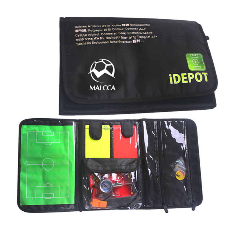 MAICCA Football referee bag with whistle cards coin barometer Professional Soccer wallet set for referee Sports Wholesale maicca quality soccer corner flag football referee flags wholesale 4pcs pack