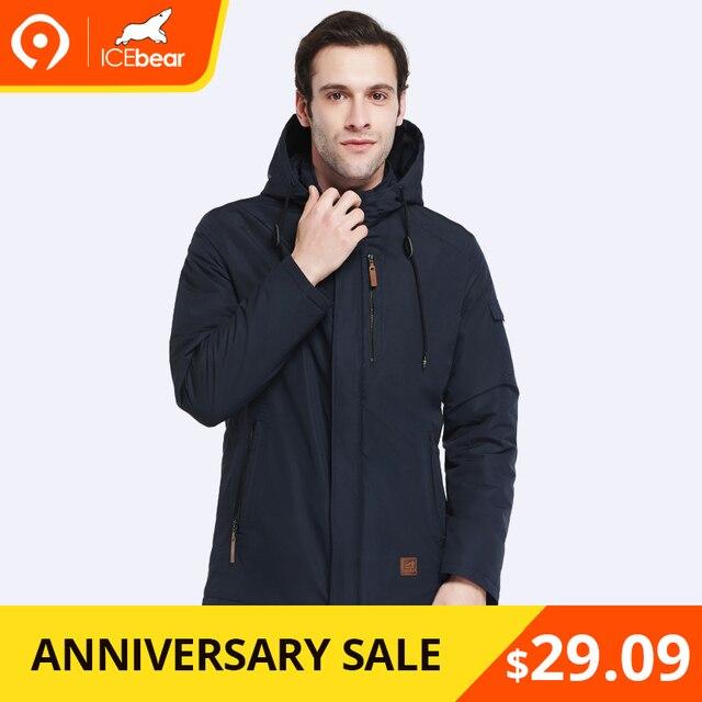 faa37db41a1 ICEbear 2019 Высокое качество Мужское пальто Весна Осень Новое прибытие  Повседневная Parka Твердая тонкая марка моды