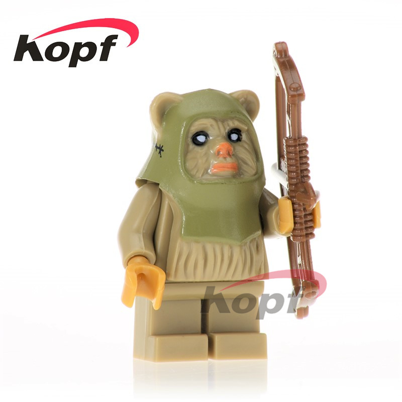 Single Sale Ewok Warrior Tokkat Wicket Logray Battle of Endor Tan 10236 Building Blocks Star Wars Bricks Toys for children PG736