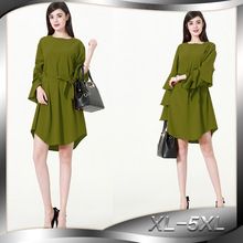 summer women green dresses 2019 new fashion loose Irregular dress tunique femme musulmane