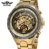 WINNER Mechanical Sport Mens Watches Top Brand Luxury Stainless Steel Clock Uhren Men Automatic Skeleton Wristwatch