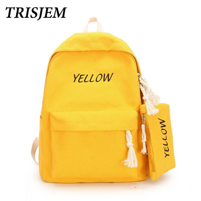b351c4eaeabb Купить Для девочек школьные сумки для подростков женский рюкзак черный  кожаный женские рюкзаки Модный женский рюкзак mochilas mujer 2018 желтый  Цена Дешево