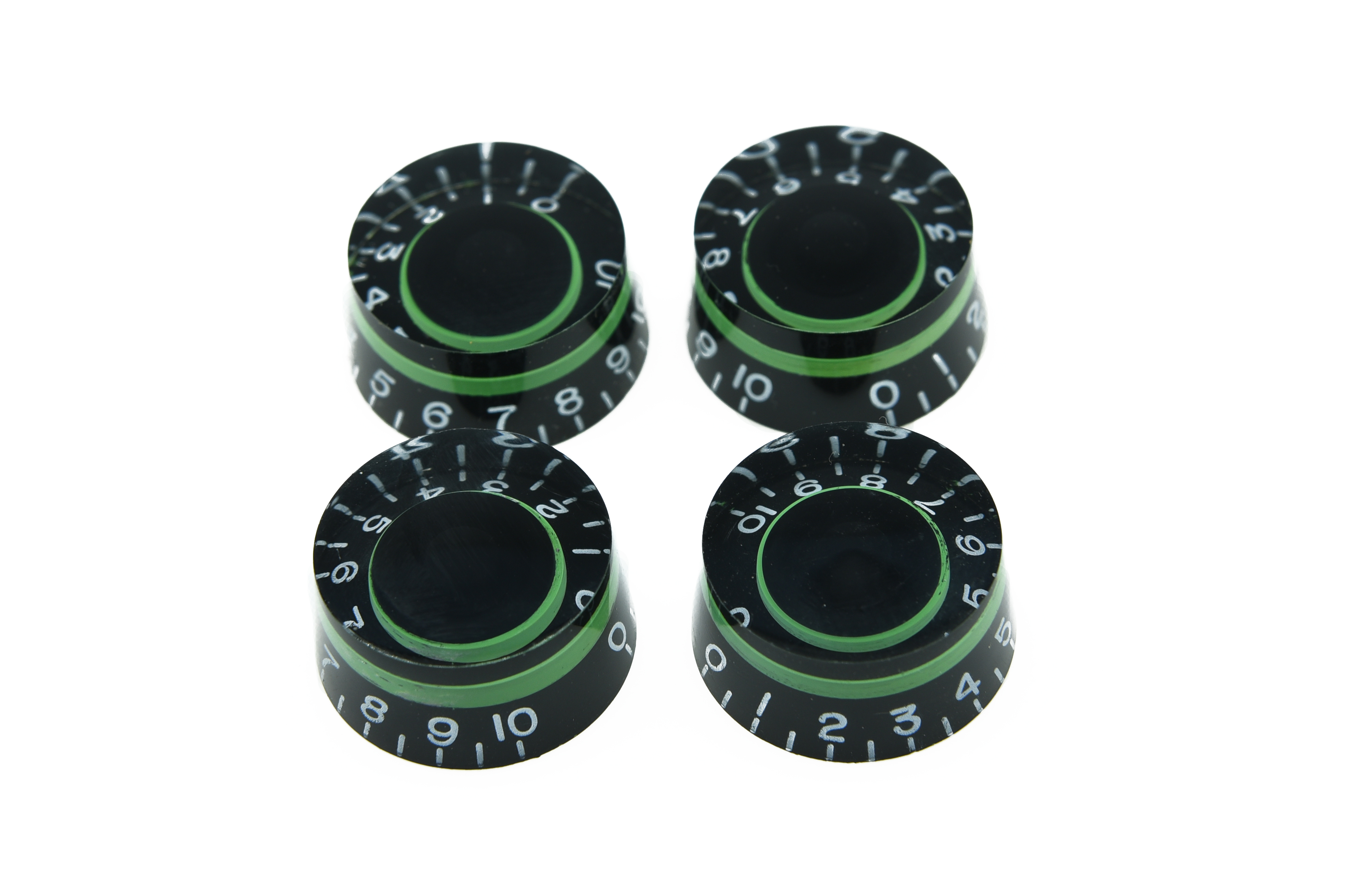 set of 4 lp guitar speed dial knobs control knob black green in guitar parts accessories from. Black Bedroom Furniture Sets. Home Design Ideas