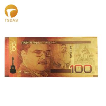 W nowym stylu 24k złoty banknot rosja banknoty 100 rubel pozłacana kolekcja prezent biznesowy tanie i dobre opinie TSDAS Ludzi Z tworzywa sztucznego Europa gold banknote gold foil + pet Souvenir home decoration 100pcs opp bag