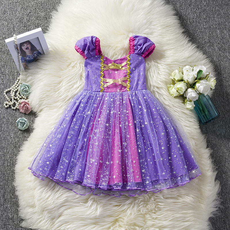 Summer Purple Lace Dresses Baby Girls Christmas Sequin Clothing Toddler Kids Party