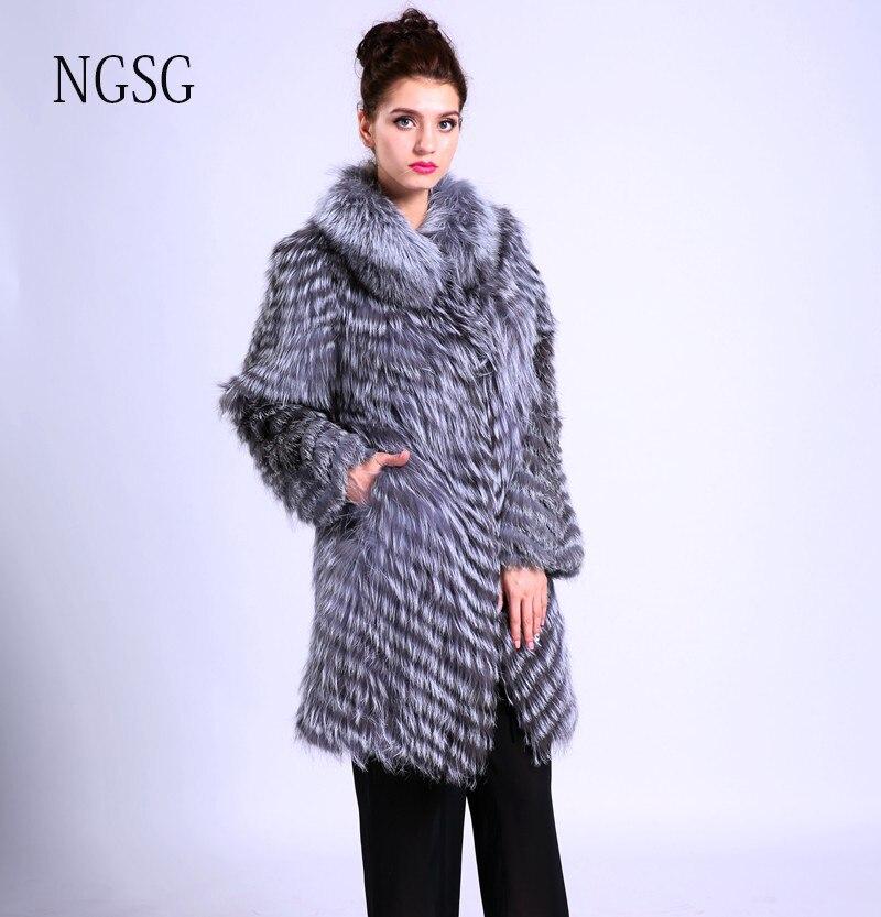 Wanita Bulu Mantel Dengan Kerah Bulu Bulu Rubah perempuan Bahan Menjaga  hangat Di Musim Dingin 90 CM Panjang Wanita Rahmat Layak Dibeli DS1005-1 f7ce89c749