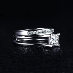 Image 3 - JPalace 2ct prenses nişan yüzüğü seti kadınlar için 925 ayar gümüş yüzük alyanslar kanal gelin seti gümüş 925 takı