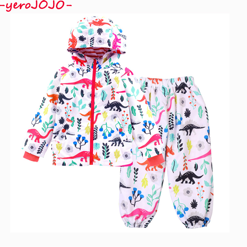 2 3 4 5 6 7Y Childrens Coat 2018 Boys Spring Autumn Cute Dinasour Windproof And Rainproof Hooded Jacket + Long Pants Suit Set