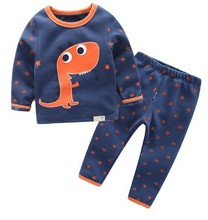HOT sell 2017 winter brand girls boys Pajamas sets Plus velvet cartoon dinosaur baby Keep warm Pyjamas kids clothes sleepwear