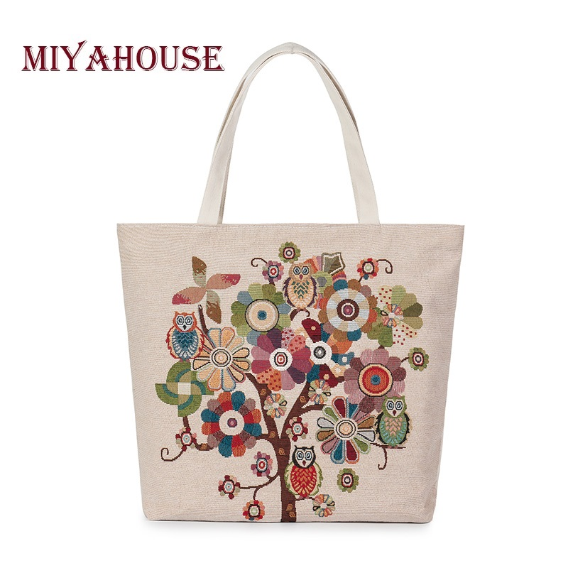Owl And Floral Print Canvas Bag Women Flowers Handbags Large Capacity Female Shoulder Bags Single Shopping Bag Casual Beach Bags free shipping casual canvas shopping bags black color with fish pattern shoulder bags shopping bag handbags e08